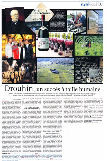 Press : Joseph Drouhin in french newspaper Le Figaro